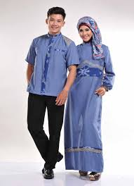 Model Baju Lebaran Keluarga Warna Biru Tua Terbaru