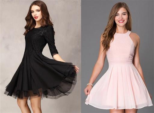 7. gaun dress pesta pendek dengan dan tanpa lengan